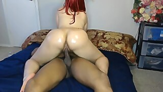 Red Head White Girl Rides Hard Black Cock For Fun