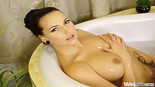 Virtual Taboo - Busty Brunette Bangs Herself In Bubble Bath