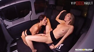 Fuckedintraffic - Big Butt Teens Try Out Lesbian Sex In Taxi - Letsdoeit