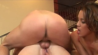 Redhead And A Brunette Share A Big Cock