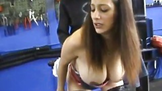 Busty Amateur Teen Girlfriend Fucked In A Garage