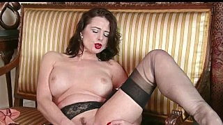 Big Tits Milf Karina Currie Strips Off Retro Black Lingerie And Toys Pussy To Orgasm In Nylons And Heels