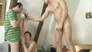 Two Men Film 3some With 60 Yo Granny In Lingerie