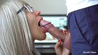 Sexy Secretary Makes Amazing And Sensual Blowjob To Her Boss Again