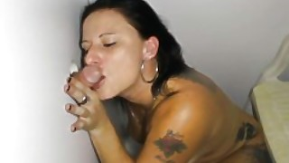 Tattoo Stripper Slut Sucking Off Hard Cocks In Glory Hole