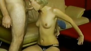 Blonde Chick Messy Blowjob