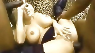 Giant Fake Titty Stripper Takes Anal From 2 Big Dirty Black Dicks And Swall