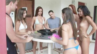 Pool Teen Party With Funny Games Fucking