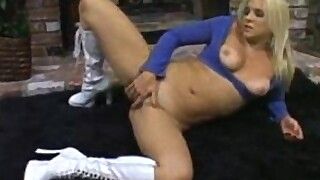 Veronika Raquel rubbs and tastes her pussy by the fireplace
