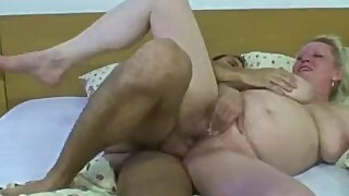 He Plays With Big Melons Blonde Skinny Granny After Shower