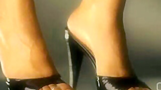 Darla TV - Dangling High Heel Mules Shoeplay Close Up