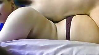 Brunette As Dry Sex From Behind And Cumed On