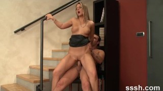 Porn For Women Hot Real Couple Have Passionate Sex On Stairway With Orgasms