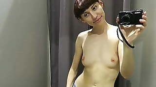 Fitting Room Topless Tease For With Hard Nipples
