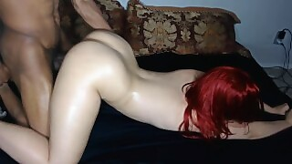 Red Head Bubble Butt Takes It Hard Face Down Ass Up And Gets Nutted In