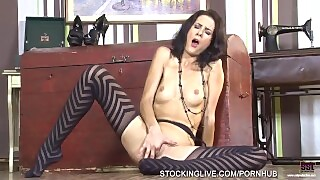 Brunette Sex Goddess Enjoying Multiple Orgasms In Her Striped Stockings