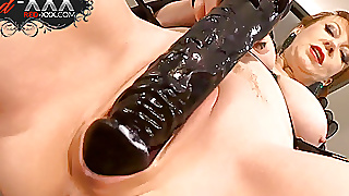 Red Xxx Fucking Herself With A Big Black Dildo