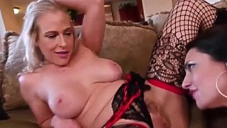 Busty Milf Lingerie Tease With Mindi Mink And Angel Allwood