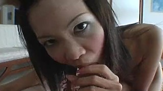 Nasty Thai Slut Rammed Doggystyle And Sucks Cock