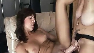Gorgeous Lesbians Fucking In Gym With Strapon