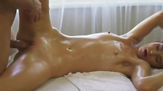 Massage Rooms Shy Natural Romanian Gets Intimate Pussy Massage Sex Session