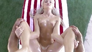Lubed - Oiled Up Blonde Ashlee Mae Gets Fucked On Independence Day