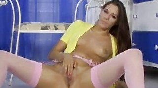 Becky Perry Spreads Her Long Legs In Pink Nylons And Plays With Herself