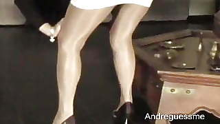 Mature In Shiny Glossy Pantyhose