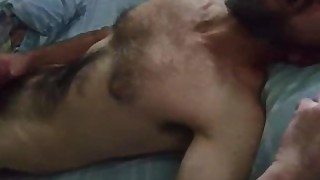 Sexy Bald Otter Has A Morning Wank And Cum On Bed