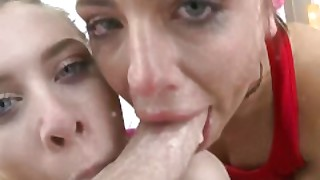 Swallowed Adriana And Anya Gagging On A Fat White Dick