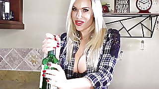 Buxom Blonde Bartender Olivia Helps The Excited Customer