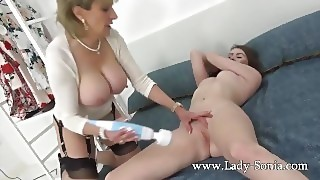 Lady Sonia Teases Her Younger Coworker With A Hitachi