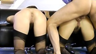 Doggystyled Milf Enjoys Threeway Sex