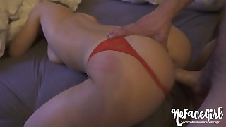 He Cums On My Back Then Fucks Me Till I Cum - Amateur Nofacegirl