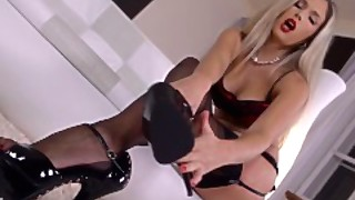 Eva Parcker Seduces Us In Pantyhose With Foot Fetish Masturbation