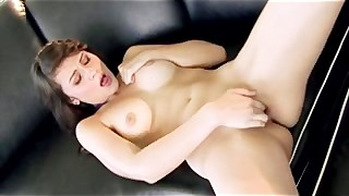 Busty Brunette Babe In Heels Strips And Fucks Her Pussy With Fing
