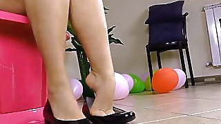 Barefoot Brunette Plays With Her Ballet Flats