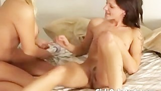 Two Nasty Girls Naked On Bed Playing