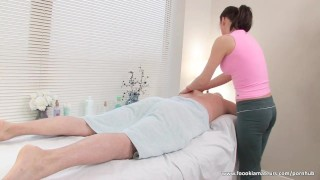 Busty Masseuse Gives Nice Blowjob