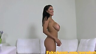 FakeAgent Busty Bruentte gives slippery tit wank in Casting